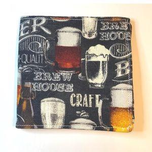Mens Handmade Beer Fabric Bifold Wallet